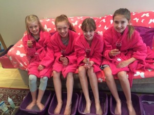 Girls enjoying their foot soaks at their pamper party